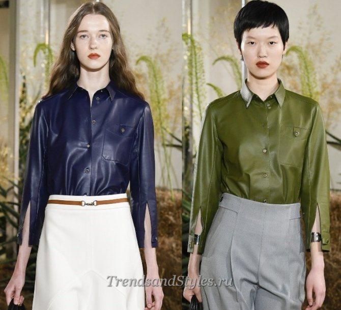 кожаные блузки женские 2020 года стильные фото новинки