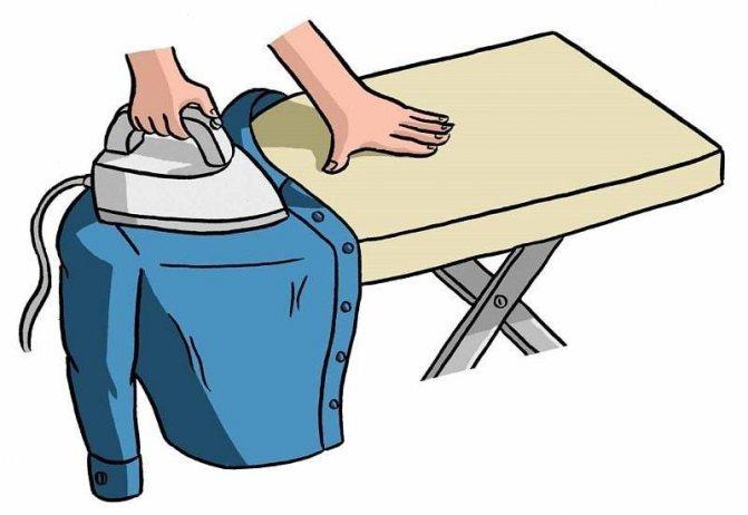Край гладильной доски - идеальное место для глажки верхней зоны рубашки