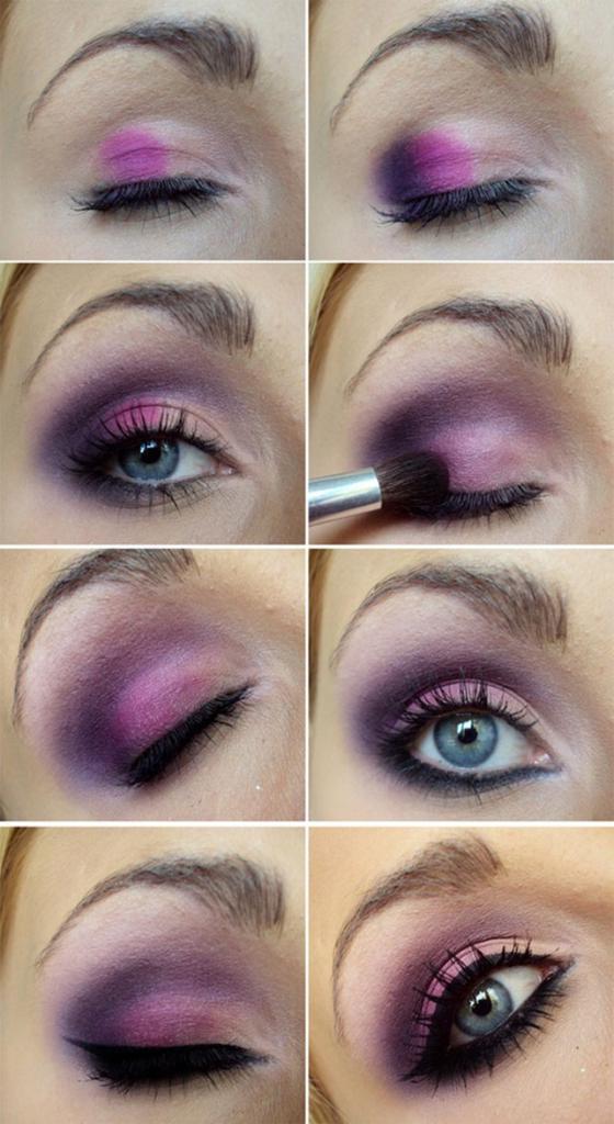 красивый фиолетовый макияж глаз