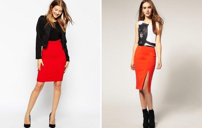 Красная юбка-карандаш из плотной ткани