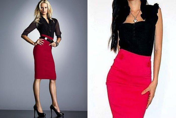 Красная юбка-карандаш с завышенной талией