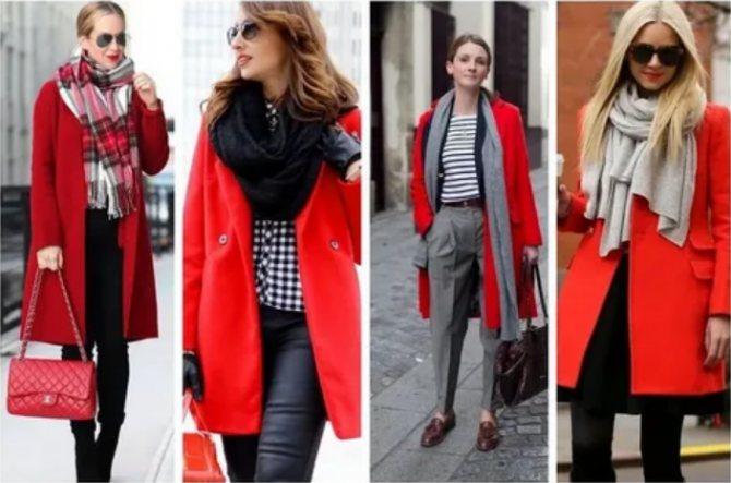 красное пальто с глубоким вырезом и шарфы