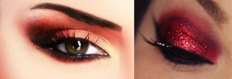 красные тени для век макияж