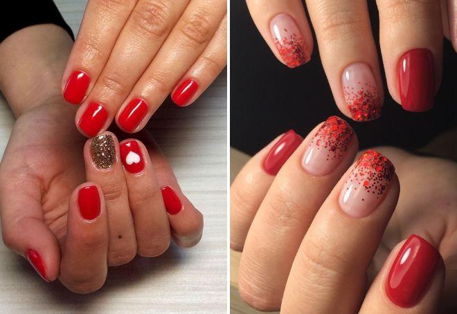 красный маникюр с блестками на короткие ногти