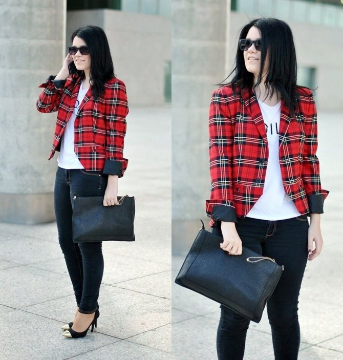 красный пиджак в клетку с узкими джинсами