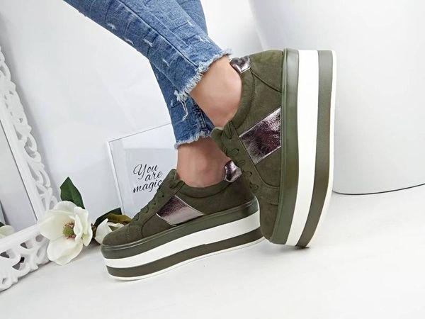 кроссовки хаки на ровной платформе