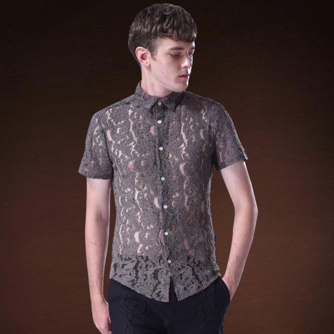 Кружевная мужская рубашка.