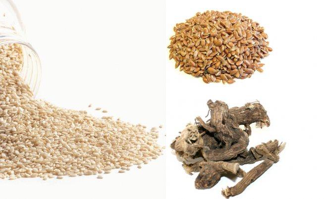 Кунжут, семена льна, корень алтея