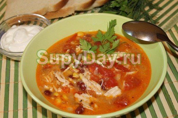 Куриный суп с фасолью Энчилада