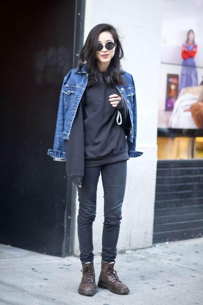 лук в школу с черными джинсами