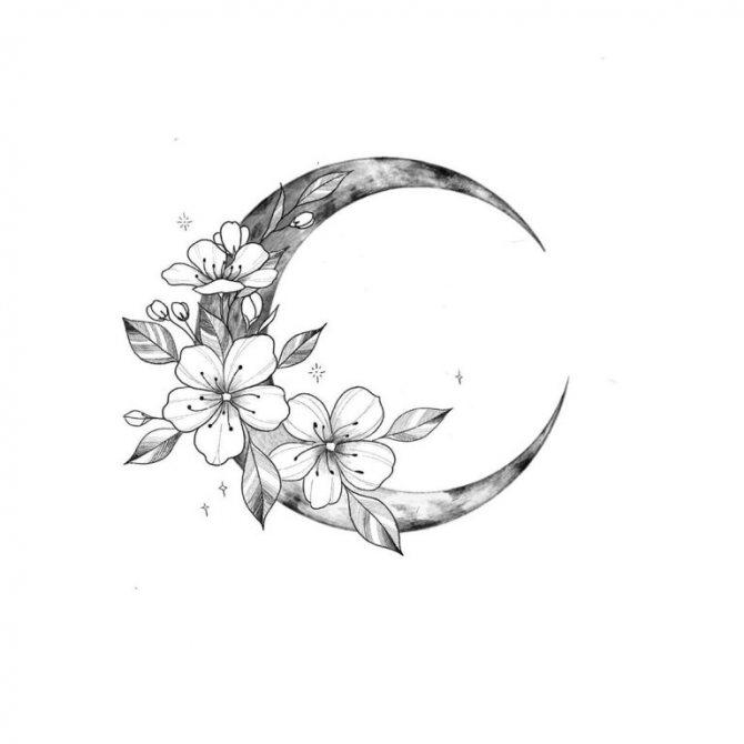 луна тату эскиз