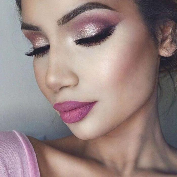 Макияж с розовыми тенями поэтапно фото