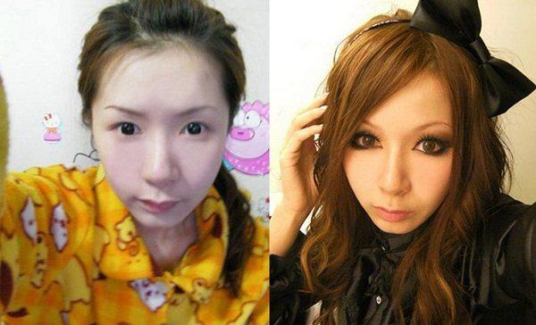 Макияж японок до и после
