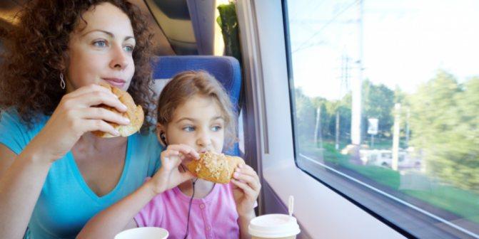 мама с дочкой кушают в поезде домашние бутерброды
