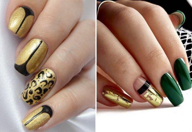 маникюр в золотом цвете