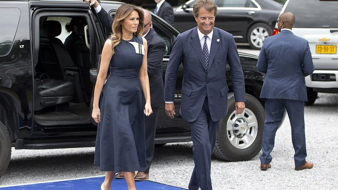 Мелания Трамп в платье Calvin Klein на саммите НАТО