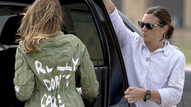 Мелания в скандальной куртке «Мне реально все равно. А тебе?»