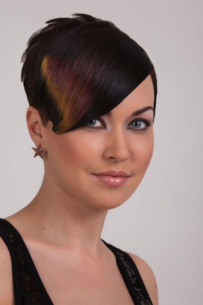Мелирование челки на тёмные и чёрные волосы фото