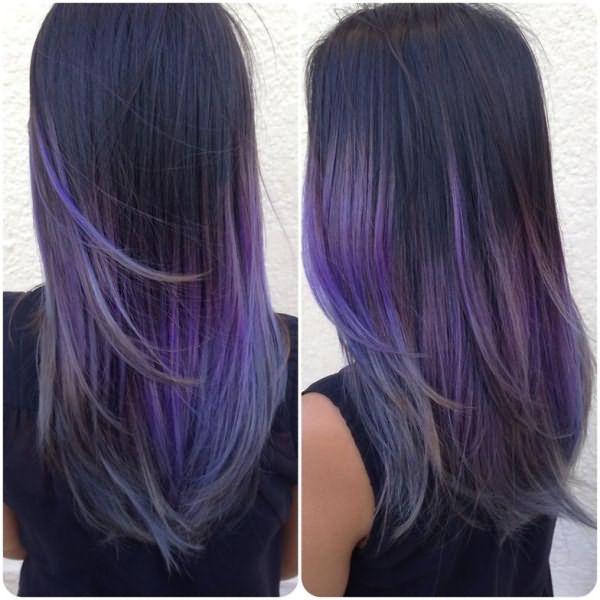 Мелирование фиолетовой краской