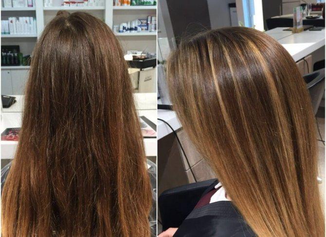 мелирование фото до и после
