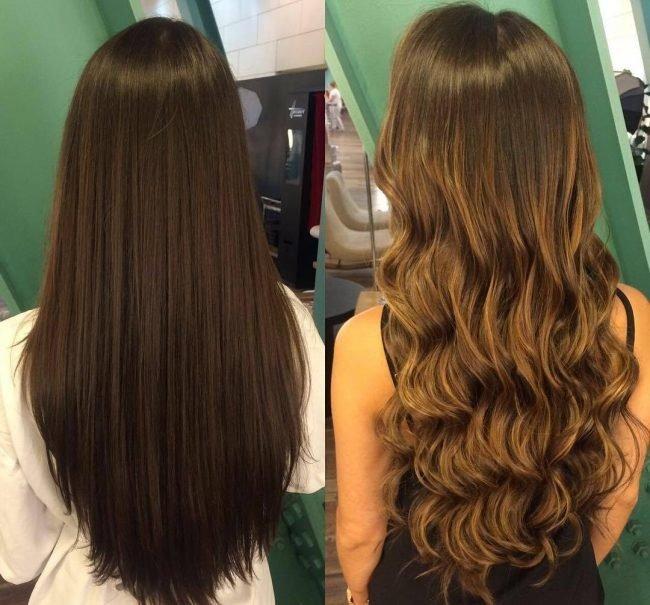 Мелирование на темные волосы фото до и после