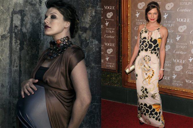 Мила Йовович до и после беременности.