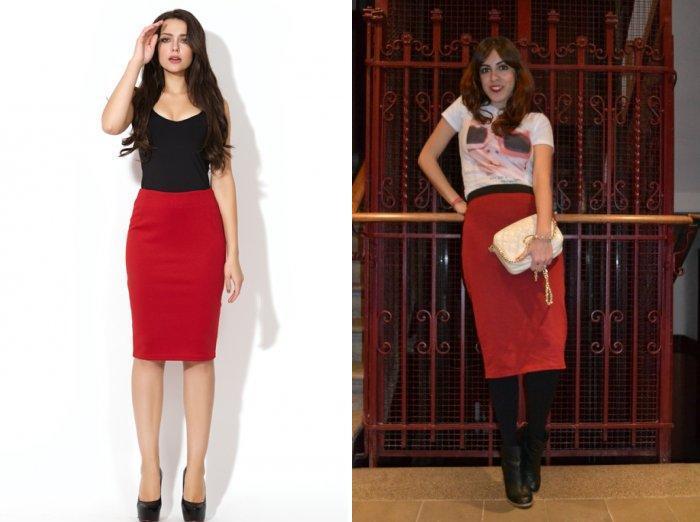 Модная красная юбка-карандаш