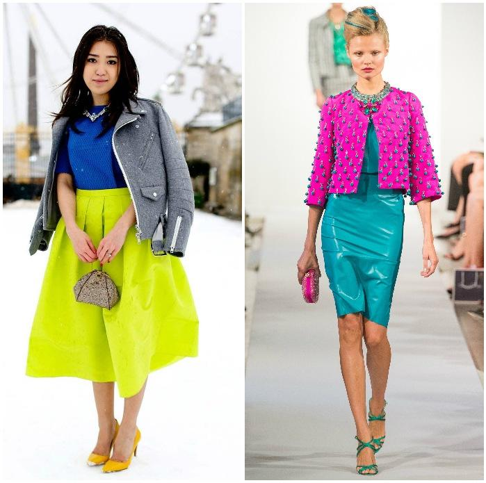 Модная одежда и обувь неоновых цветов