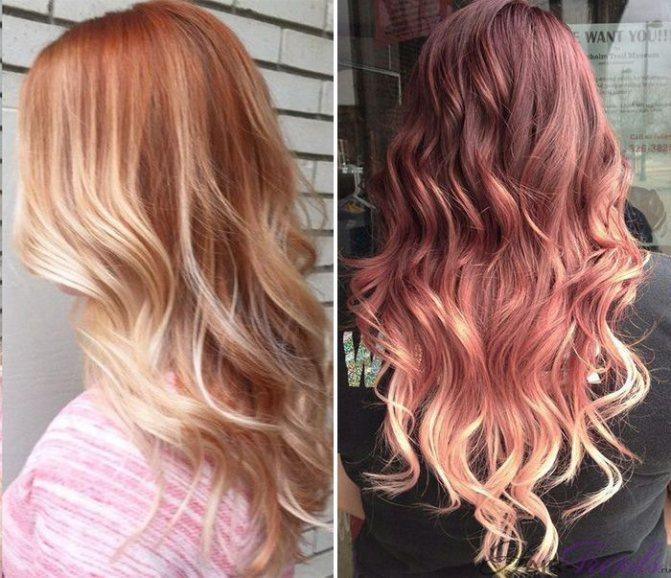 Модное окрашивание светлых волос, Клубничное Омбре
