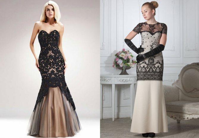 Модное платье рыбка с кружевами на Новый Год 2020