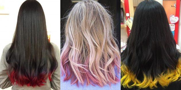 модные цвета волос — 2020: контрастные кончики