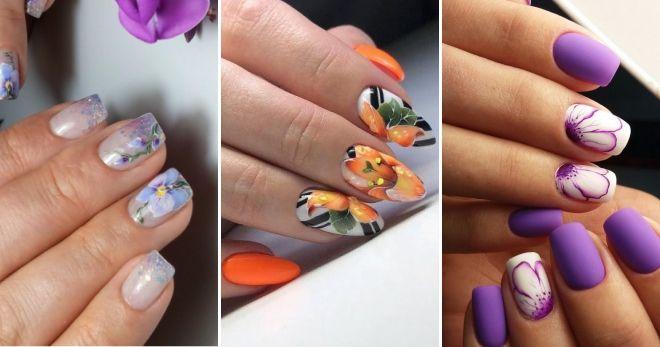Модные рисунки на ногтях 2020 цветы