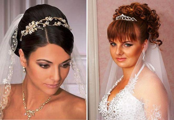 модные свадебные прически с диадемой