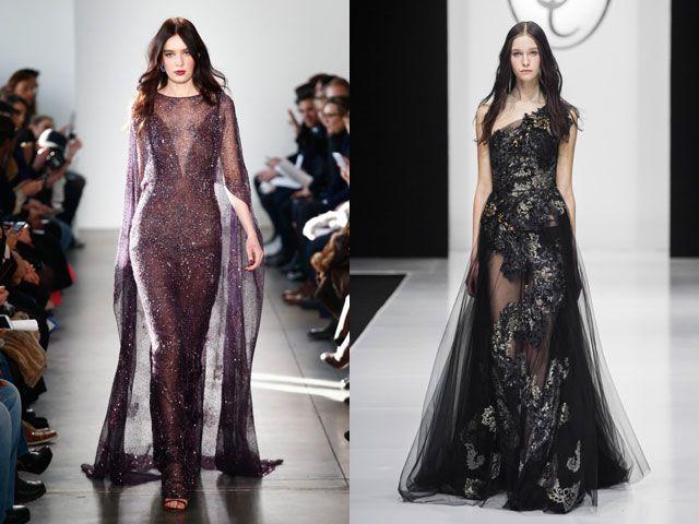 Модные вечерние платья с прозрачными вставками осень-зима 2019-2020