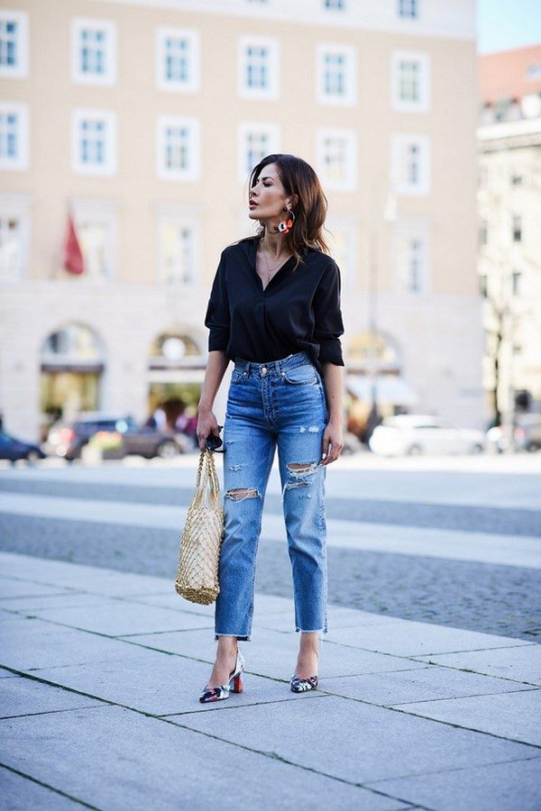 Модные женские джинсы: фото тренды