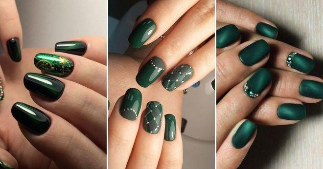 Модный цвет ногтей 2020 зеленый