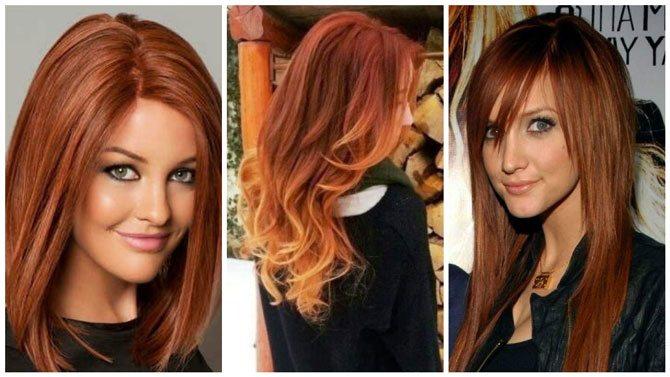 Модный цвет волос 2017 рыжий 1