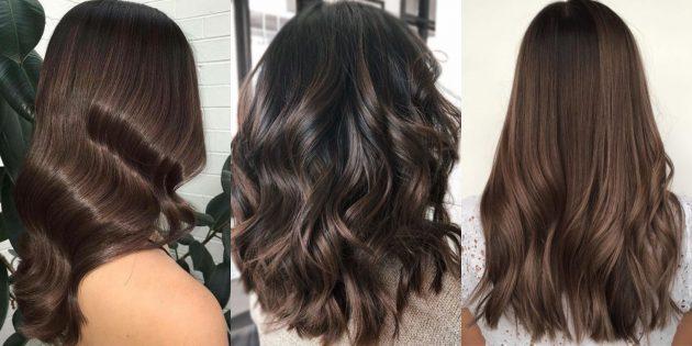 модный цвет волос — 2020: холодный шоколадно-коричневый