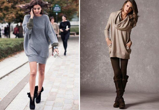 модный свитер платье
