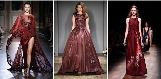 Модный винный оттенок для длинных платьев
