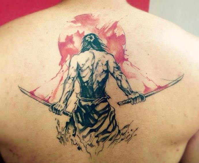мужчина с двумя мечами