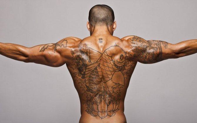 Мужское тату на спине