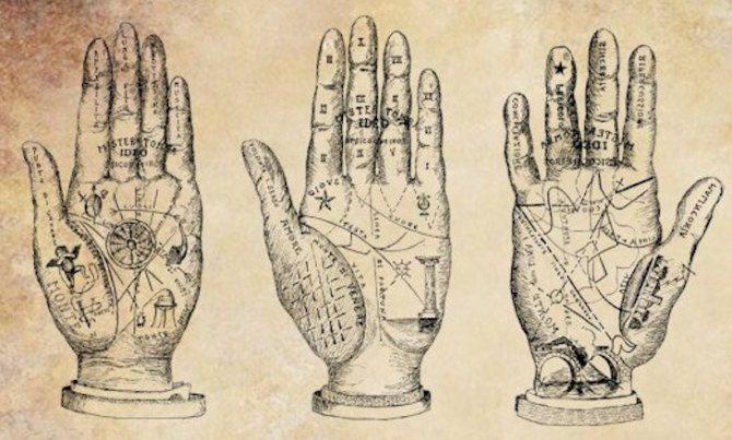 На руках много символов