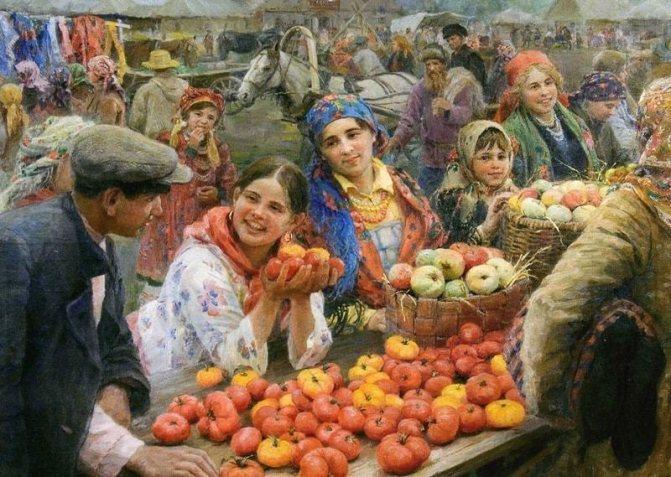 На руси всегда считалось, что есть яблоки полезно. картина {amp}quot;колхозный базар{amp}quot; федота сычкова