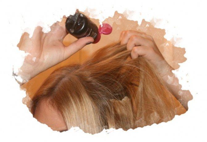 нанесение пудря для волос