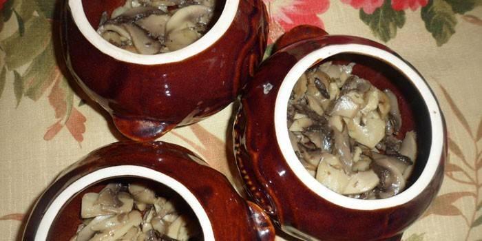 Нарезанные грибы в горшочках