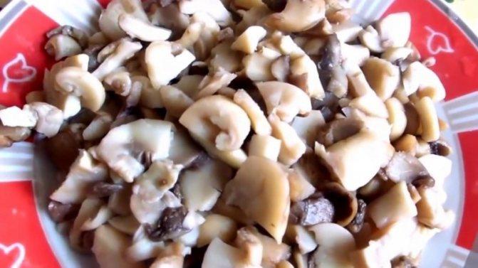 нарежьте грибы на кусочки