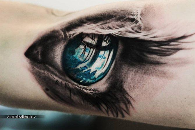 Небольшая Тату Голубой Глаз на Руке
