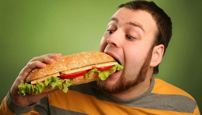 Неправильное питание мужчины
