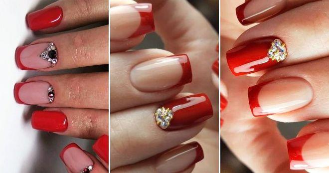 Ногти френч 2020 - модные идеи сезона красный